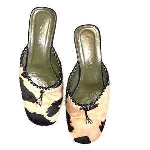 Ann Taylor Animal Print Calf Hair Mules